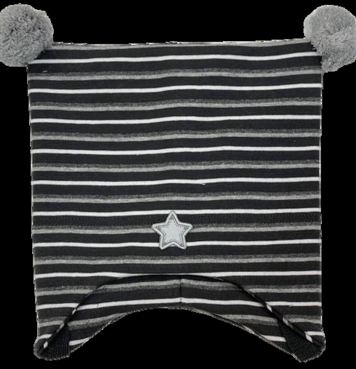 Kivat Stjerne knytelue m/dusker -grå stripet